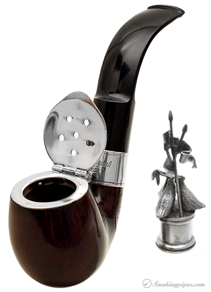 English Estate Dunhill Bruyere Christmas Pipe (Three French Hens) (4202) (4/500) (1995) (Unsmoked)