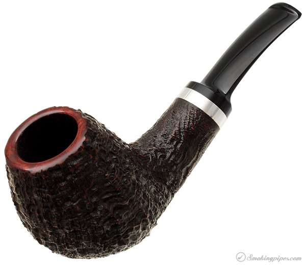 J. Alan Pipes Sandblasted Bent Brandy with Silver