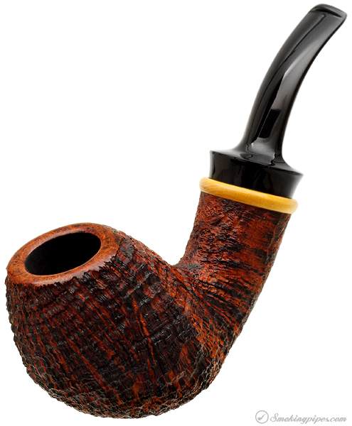 J. Alan Pipes Sandblasted Bent Egg with Boxwood