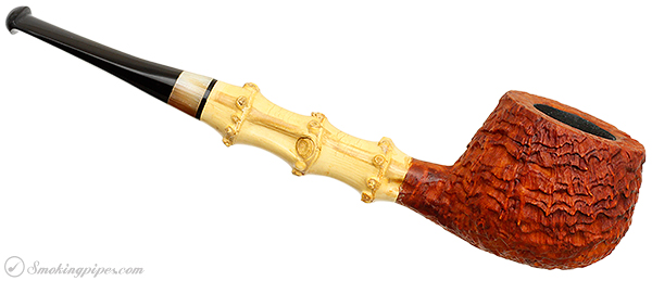 Il Duca Barone Sandblasted Strawberry Wood Pot with Bamboo and Horn (B2)