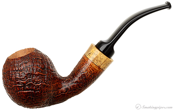 Sandblasted Bent Apple with Exotic Wood (54D) (S)