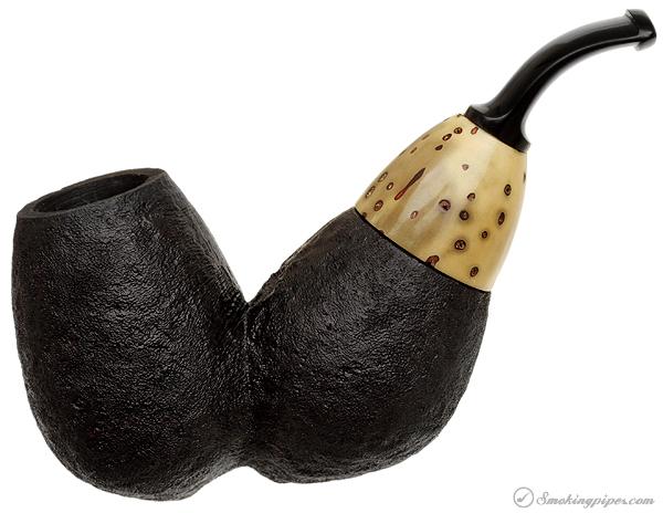 Werner Mummert Sandblasted Reverse Calabash with Tagua Nut