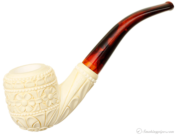 AKB Meerschaum Carved Bent Pot (with Case)