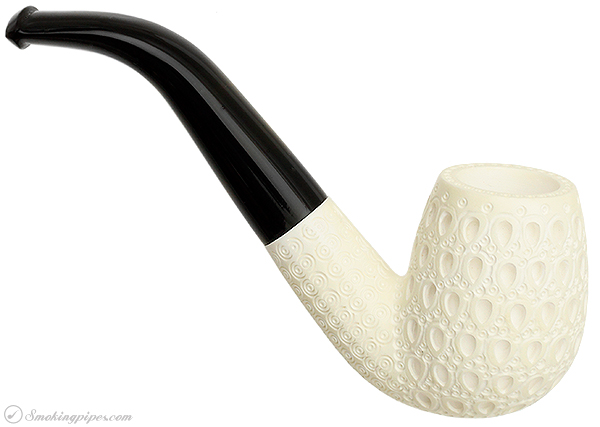 AKB Meerschaum Carved Bent Billiard (with Case)
