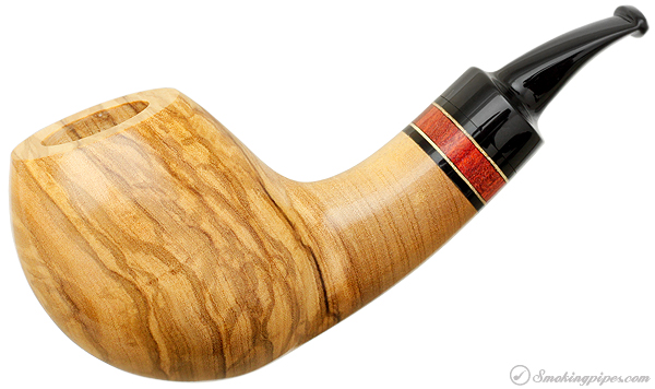 Daniel Mustran Smooth Olivewood Bent Apple with Koto and Satine