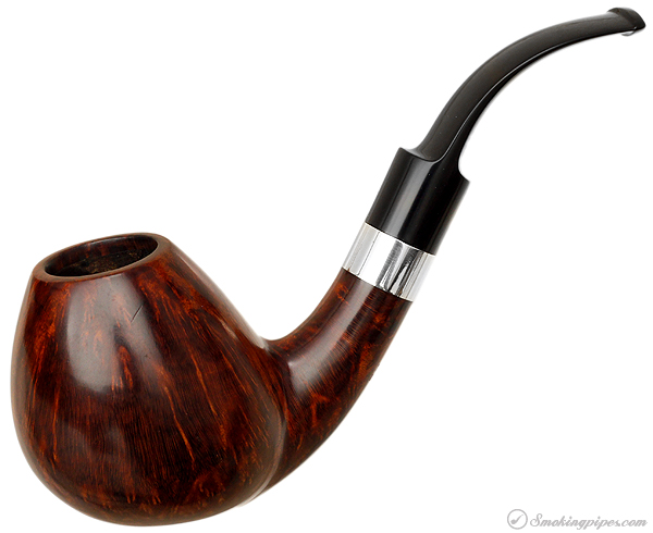 Danish Estate S. Bang Smooth Bent Brandy with Silver Band (Two Stems) (Giant) (B) (Pre-1984)