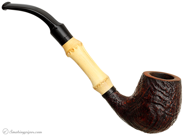 Danish Estate Stanwell Sandblasted Bent Billiard with Bamboo