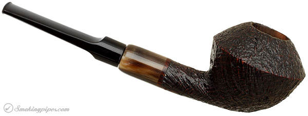 Danish Estate Sara Eltang Christmas 2008 Smokingpipes.com Ltd. Ed. Sandblasted Rhodesian with Horn Ferrule (21/30)