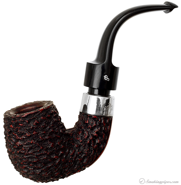 Irish Estate Peterson Hand-Made House Pipe Rusticated Bent Billiard with Sterling Silver Band (1995) (P-Lip)