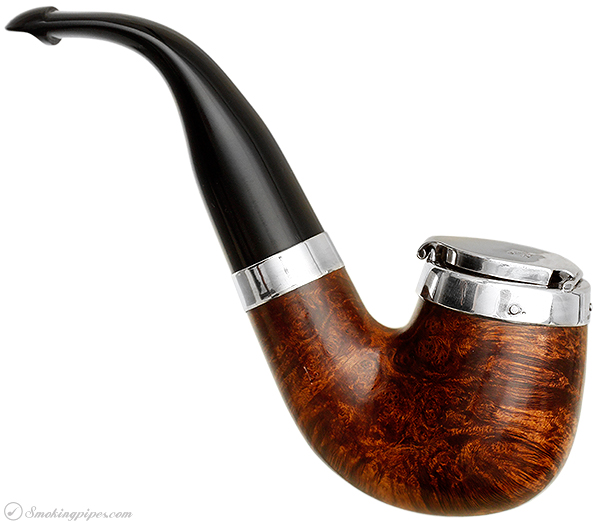 Irish Estate Peterson Smooth Bent Billiard with Silver Wind Cap and Band (221)(P-Lip)(2004) (Unsmoked)
