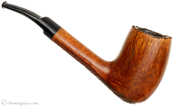 Italian Estate Savinelli Autograph Partially Rusticated Sitter Bent Billiard (6) (Replacement Stem)