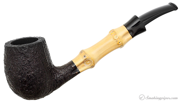 Tsuge Sandblasted Bent Billiard with Bamboo (Unsmoked)