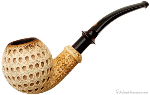 SMS Meerschaum Lattice Carved Bent Apple (with Case)