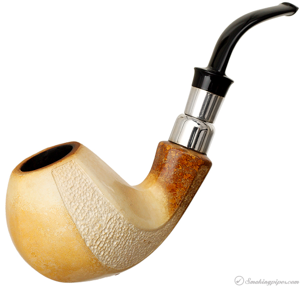 IMP Meerschaum Partially Rusticated Bent Brandy with Silver (with Case)