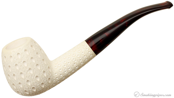Unknown Meerschaum Lattice Bent Billiard (with Case) (Unsmoked)