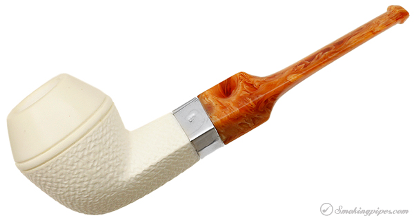 Unknown Meerschaum Partically Rusticated Bulldog with Silver (with Case) (Unsmoked)