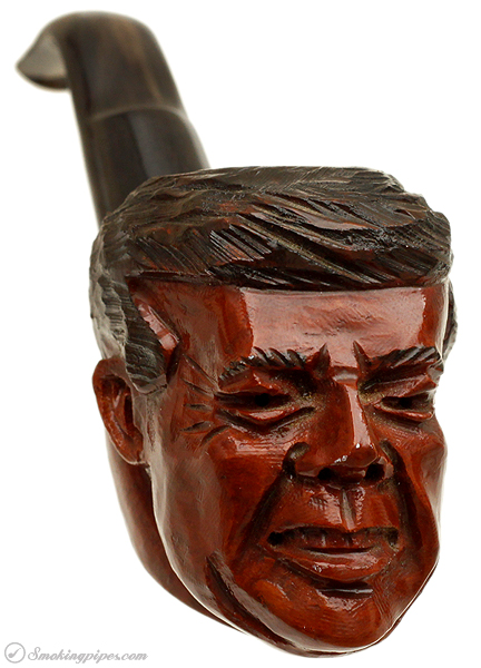 Misc. Estate Unknown JFK Carved Pipe with Horn Stem (Unsmoked)