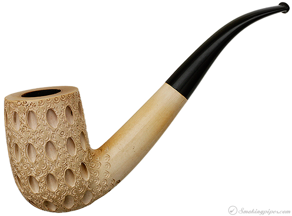 CAO Meerschaum Lattice Carved Bent Billiard (with Case)