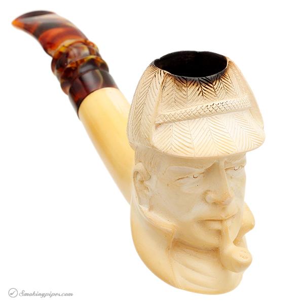 Misc. Estate Yunus Meerschaum Sherlock Holmes Smoking a Pipe (with Case)