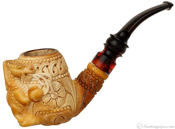 Salim Meerschaum Carved Dragon Bent Billiard with Dragon (with Case)