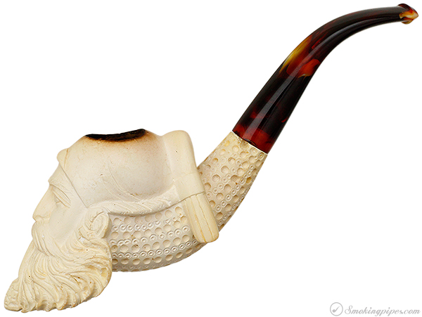 Misc. Estate Unknown Meerschaum Man in Night Cap Smoking a Pipe (with Case)