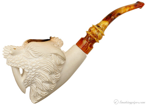 Turkish Estates Emre Meerschaum Asian Sabre-Toothed Dragon (with Case)