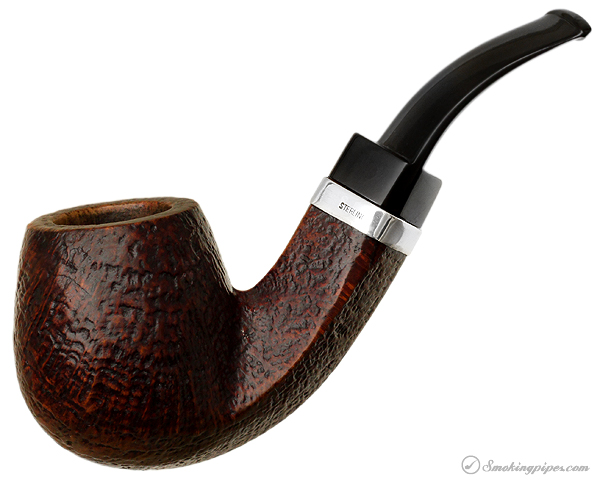 Ehrlich Sandblasted Bent Billiard with Silver Band