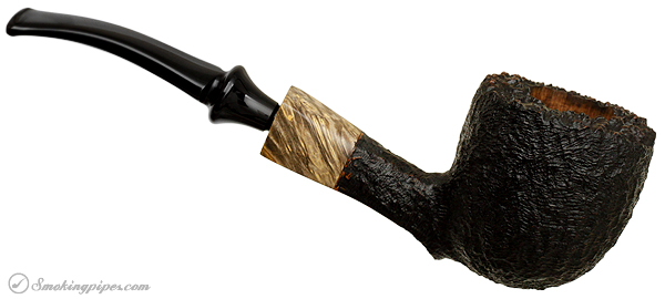 American Estate Randy Wiley Galleon Rusticated Bent Billiard with Spalted Maple (55)