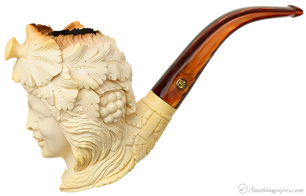 Turkish Estates CAO/Bekler Meerschaum Woman with Disturbing Expression and Grapes in her Hair (with Case)