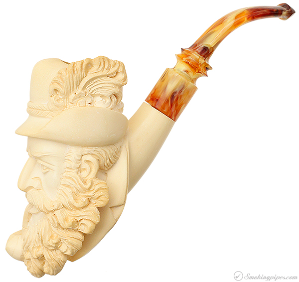 Turkish Estates CAO Meerschaum Bearded Man with Pipe (with Case)