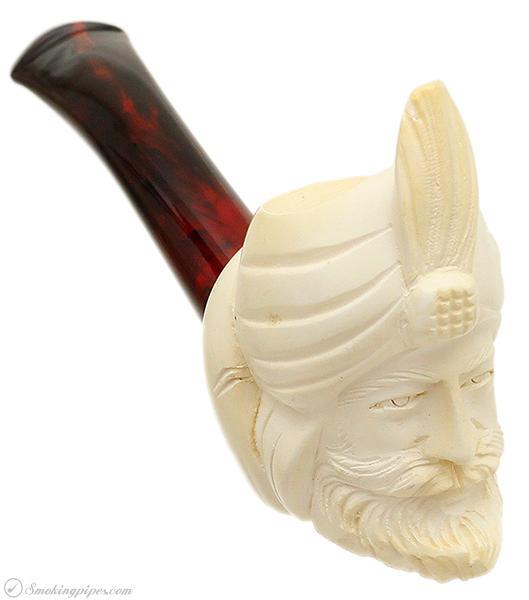 Turkish Estates Unknown Meerschaum Man with Turban (with Case) (Unsmoked)