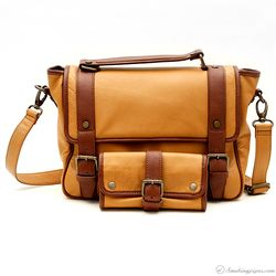 Claudio Albieri Briefcase with Pouch Tan/Chestnut Italian Leather