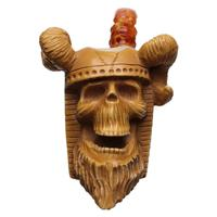 AKB Meerschaum Carved Viking Skull (with Case)