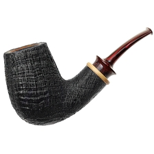 BriarWorks Handmade Sandblasted Bent Billiard with Olivewood
