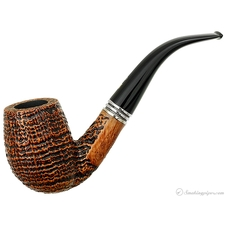 Ser Jacopo De Divina Proportione Sandblasted Bent Billiard with Silver (S2)(Unsmoked)