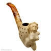 Turkish Estates Paykoc Meerschaum Nude Woman on Lattice Carved Bent Egg (with Case)
