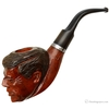 Misc. Estates Unknown JFK Carved Pipe with Horn Stem (Unsmoked)